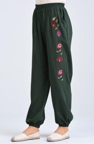 Şile Bezi İşlemeli Pantolon 0019-01 Koyu Yeşil