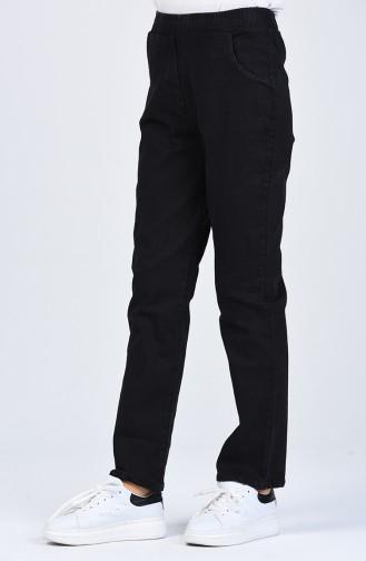 Beli Lastikli Cep Detaylı Kot Pantolon 1452PNT-01 Siyah