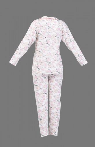 Desenli Pijama Takım 1005-01 Pembe Somon