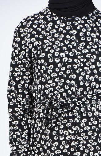 Robe à Motifs Avec Ceinture 1431-01 Noir 1431-01