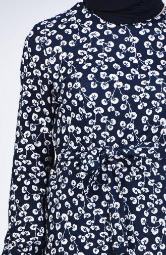 Robe à Motifs Avec Ceinture 1431-03 Bleu Marine 1431-03