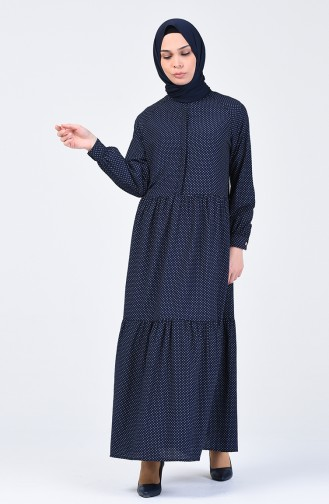 Fırfırlı Elbise 5299A-01 Lacivert