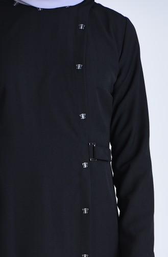 Yandan Bağlamalı Ferace 6853-01 Siyah