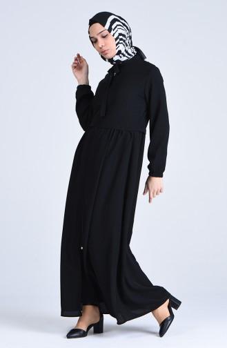 Fermuarlı Ferace 6856-03 Siyah
