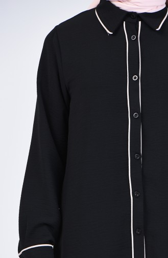 Aerobin Kumaş Tunik Pantolon İkili Takım 1068-04 Siyah Bej