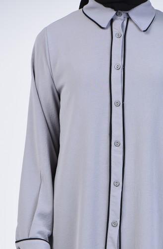 Aerobin Kumaş Tunik Pantolon İkili Takım 1068-05 Gri Siyah