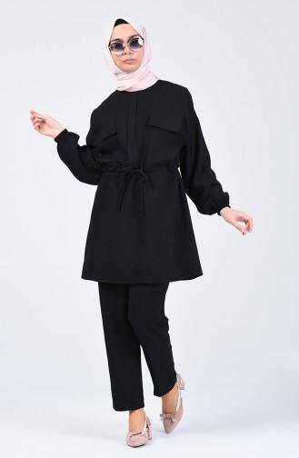 Aerobin Kumaş Tunik Pantolon İkili Takım 1070-03 Siyah