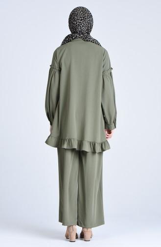 Aerobin Kumaş Büzgülü Tunik Pantolon İkili Takım 1075-04 Haki