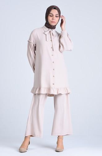 Aerobin Kumaş Büzgülü Tunik Pantolon İkili Takım 1075-07 Bej
