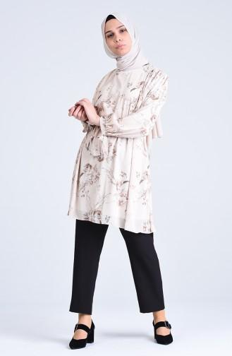 Desenli Tunik Pantolon İkili Takım 1077-01 Bej Siyah
