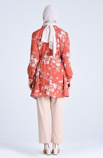 Desenli Tunik Pantolon İkili Takım 1077-03 Kiremit Bej