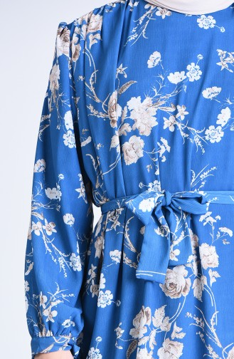 Patterned Tunic Pants Two-pieces Suit 1077-04 İndigo Beige 1077-04