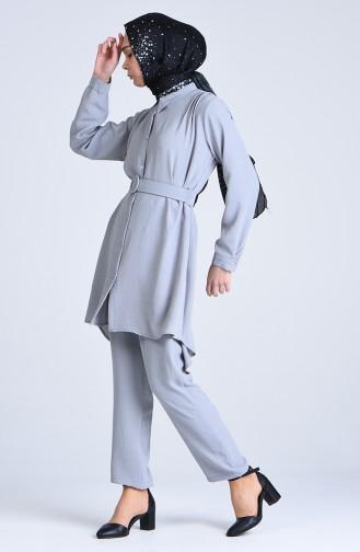 Aerobin Kumaş Kemerli Tunik Pantolon İkili Takım 1078-03 Gri
