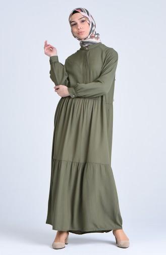 Fırfırlı Elbise 5299-02 Haki