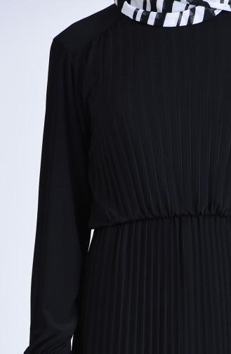 Robalı Piliseli Elbise 5302-01 Siyah