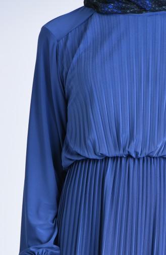 Robalı Piliseli Elbise 5302-03 İndigo