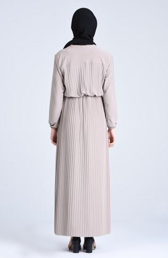 Robalı Piliseli Elbise 5302-05 Vizon