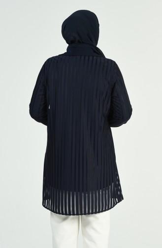 Büyük Beden Gömlek Bluz İkili Takım 1278-01 Lacivert