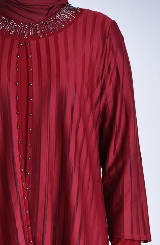 Grösse Grosse Perlen Abendkleid 1277-06 Weinrot 1277-06