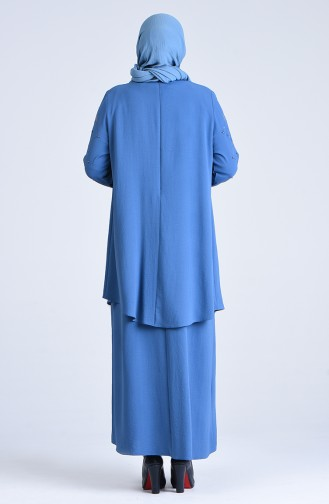 Plus Size Stone Sleeve Evening Dress 1307-04 Indigo 1307-04