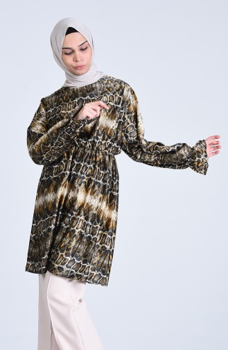 Leopard Pattern Satin Tunic 2106-01 Black Mink 2106-01