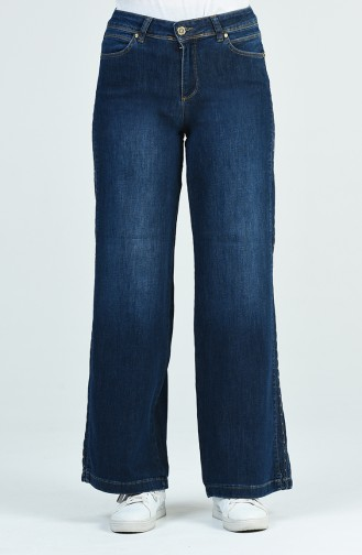 Wide Leg Jeans with Pocket 9105-01 Navy Blue 9105-01