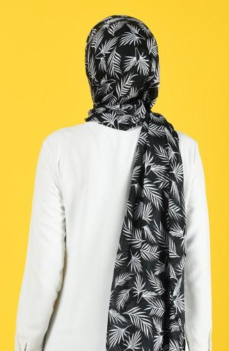 Elmina Desenli Pamuk Şal 991-101 Siyah Beyaz