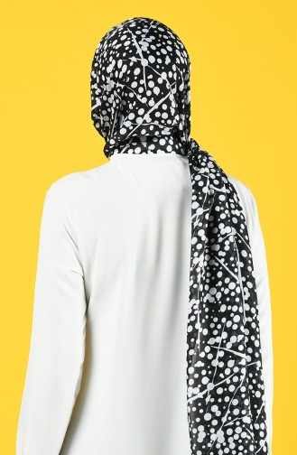Elmina Desenli Pamuk Şal 992-101 Siyah Beyaz