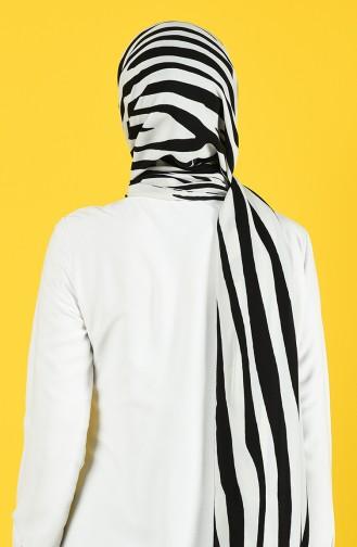 Châle a Motifs en Soie de Medine 70155-04 Blanc Cassé Noir 70155-04