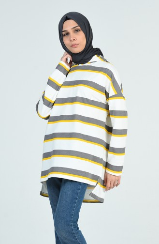 Gestreiftes Sweatshirt 0701-02 Gelb Grau 0701-02