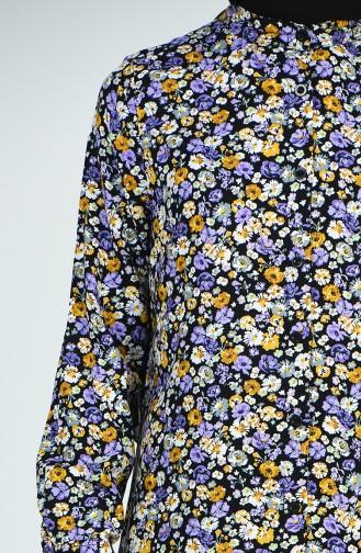 Patterned Viscose Tunic 6457-01 Black Purple 6457-01