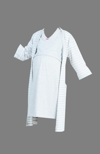 طقم قميص نوم طويل للأمومة لون رمادي 909044-A