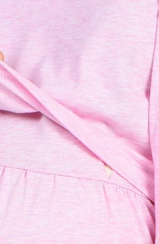 طقم قميص نوم طويل للأمومة لون وردي 909044-B