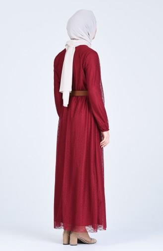 Claret red İslamitische Jurk 8052-04