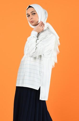 Cepli Çizgili Gömlek 1645-02 Beyaz Mavi 1645-02