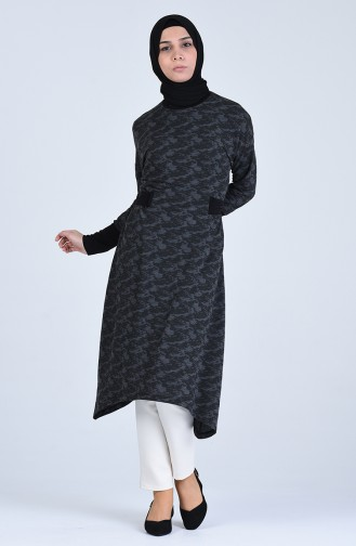 Asimetrik Uzun Tunik 1529-01 Siyah