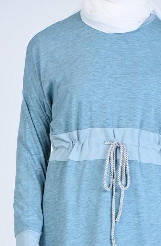 Beli Büzgülü Spor Uzun Tunik 1577-01 Mint Yeşili