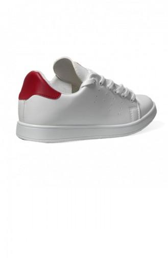 Weiss Rot Damen Sneaker 300-27
