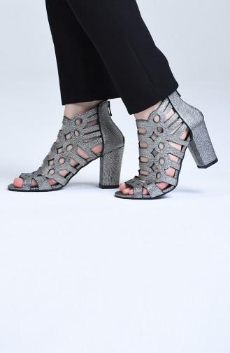 أحذية الكعب العالي رمادي فضي 0004-02
