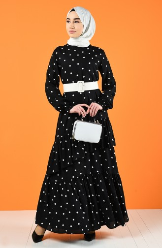 Kemerli Elbise 8199-01 Siyah Beyaz