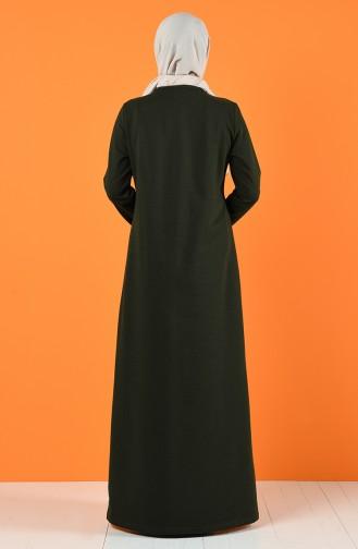 Baskılı İki İplik Elbise 5042-02 Haki