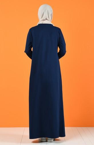 Baskılı İki İplik Elbise 5042-03 İndigo