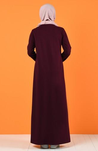 Baskılı İki İplik Elbise 5042-04 Mürdüm