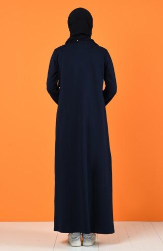Baskılı İki İplik Elbise 5042-05 Lacivert