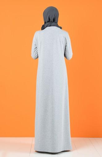 Baskılı İki İplik Elbise 5042-07 Gri