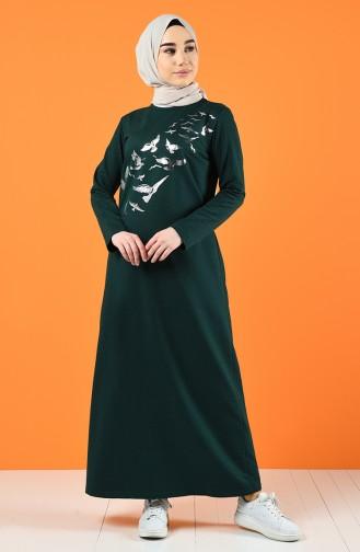 Baskılı İki İplik Elbise 5042-08 Zümrüt Yeşili