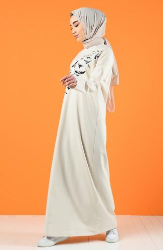 Ecru İslamitische Jurk 5042-09