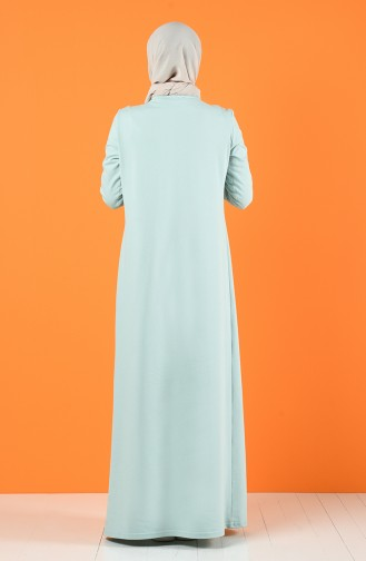 Baskılı İki İplik Elbise 5042-10 Yeşil