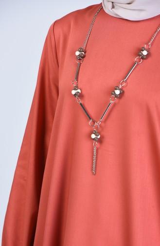 Asymmetrische Tunika mit Halskette 1975-04 Ziegelrot 1975-04