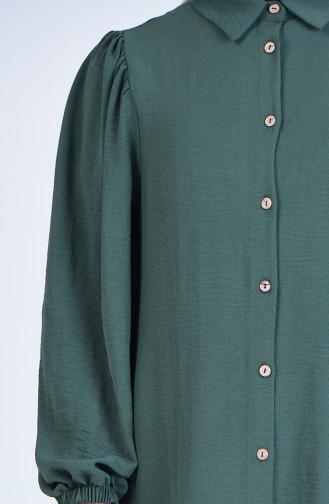 Ärmel elastische geknöpfte Tunika 1422-08 Mandelgrün 1422-08